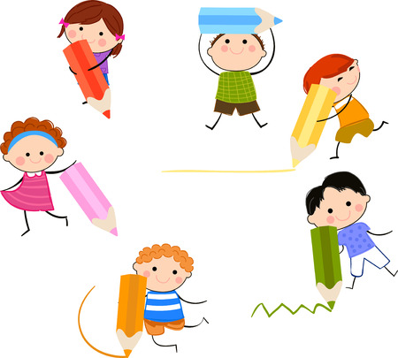 writing activity: Group of children with pencil