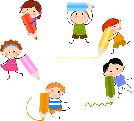 niños escribiendo: Grupo de niños con lápiz