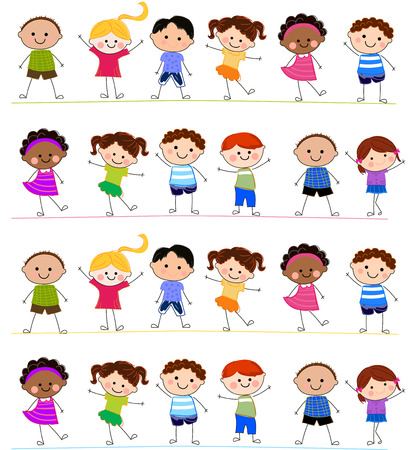 happy kids jumping: Group of children