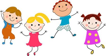 niño cantando: cuatro niños saltando