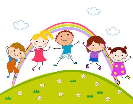 幸せな子供のジャンプ