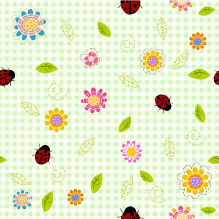 small details: Seamless spring background with small flowers and ladybugs Illustration