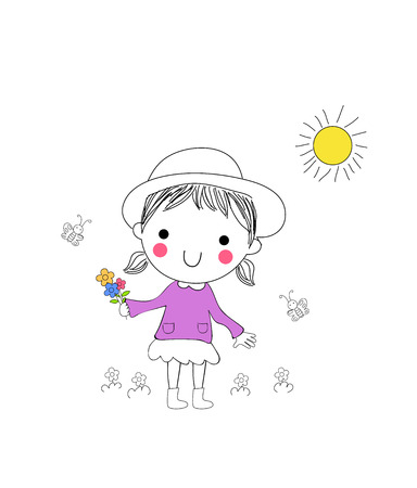 Little girl with a bunch of flowers Illustration