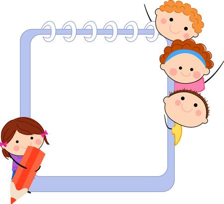 escuelas: Ni�os y marco Vectores