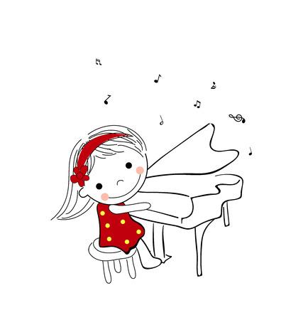 leccion: Niña tocando el piano