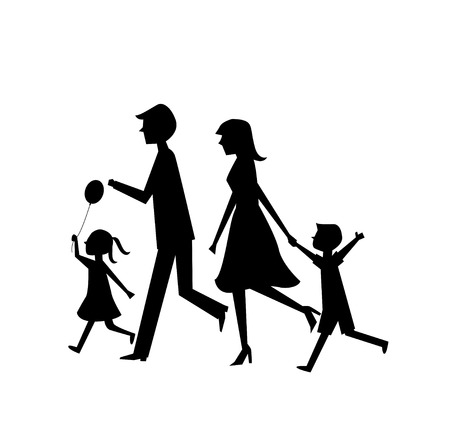 running family of four vector Vector