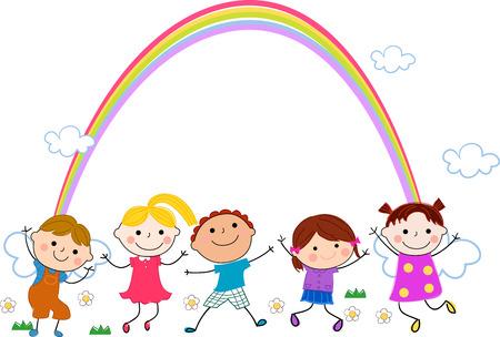 enfant qui sourit: enfants et arc en ciel Illustration