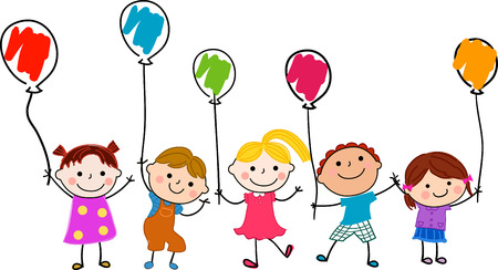Children and balloon Ilustracja