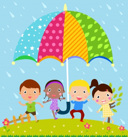 wet girl: Kids and umbrella