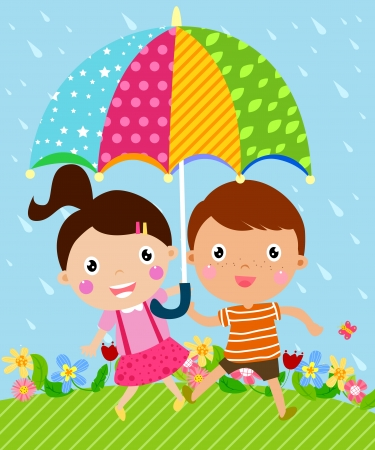 Kids and umbrella Vector