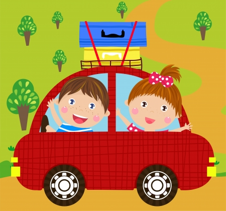 boy and girl in red car Vector
