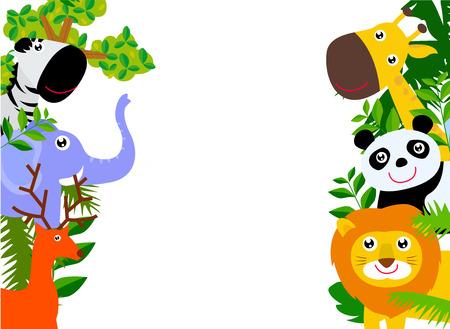 giraffe frame: animal and frame Illustration