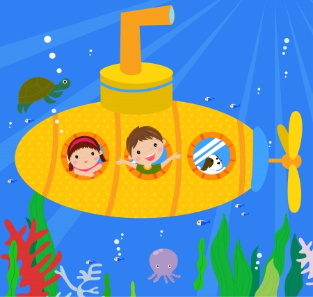 Submarine and kids Vector