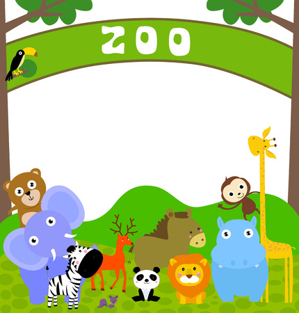 Zoo animals and frame Vector