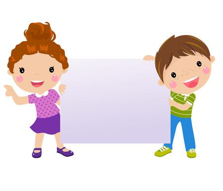 kids and banner Illustration