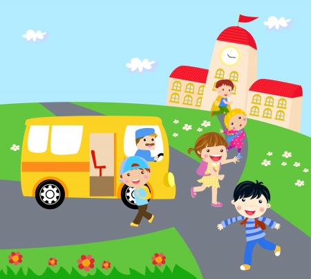 queue of people: kids and school bus Illustration