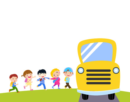 waiting in line: kids and school bus Illustration