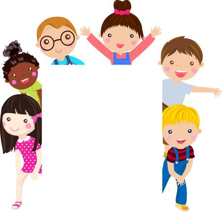 kids and banner Ilustracja