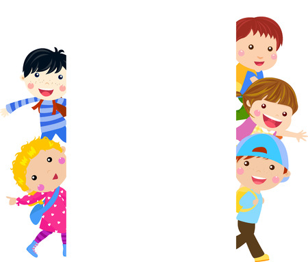 animated action: kids and banner Illustration