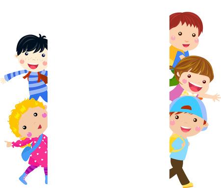 niños y banners Vectores