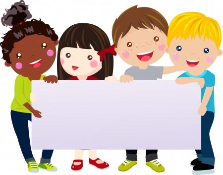 Des enfants heureux avec la bannière Banque d'images - 25117856