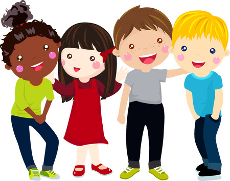 animated action: Group of children