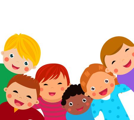 enfant qui sourit: Groupe d'enfants Illustration