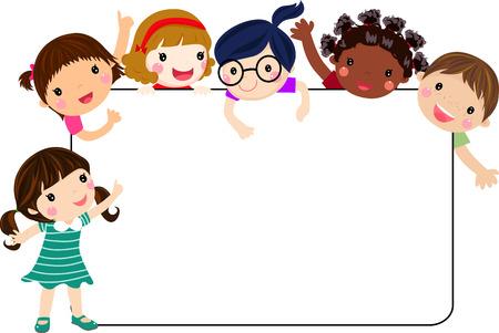enfant qui sourit: enfants et le cadre Illustration