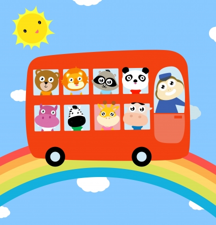 Animals bus and rainbow Vector