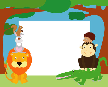 zoo youth: Animals and frame Illustration