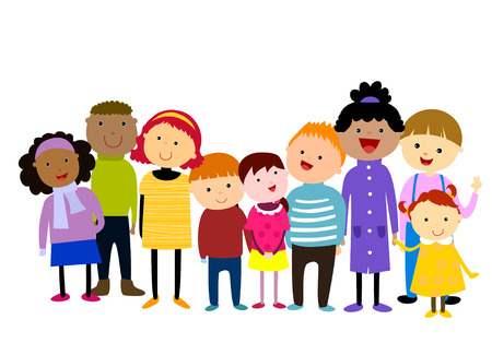 hispanic boy: group of kids,winter Illustration
