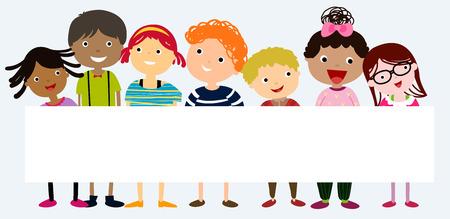Enfants multiculturelles tenant bannière vierge