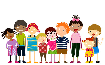 group of children having fun Illustration
