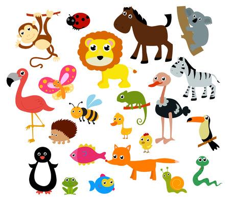 Animales De La Selva. Divertidos Dibujos Animados E Ilustración ...