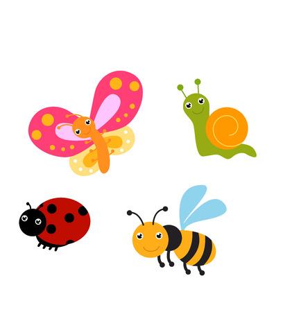 donna farfalla: set di insetti divertenti Vettoriali