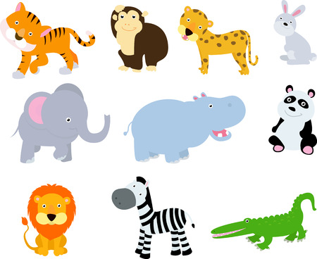 different wild animals cartoons Vector