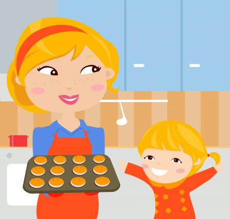 Happy mother and her daughter cooking in the kitchen Vector