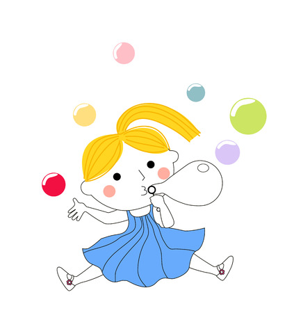 Cute little girl blowing bubbles Vector