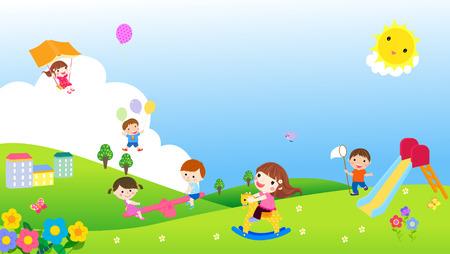 colorful slide: Playing kids