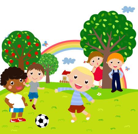 kids football: kids playing football Illustration
