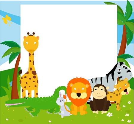 cartoon for�t: Groupe d'animaux et de cadre
