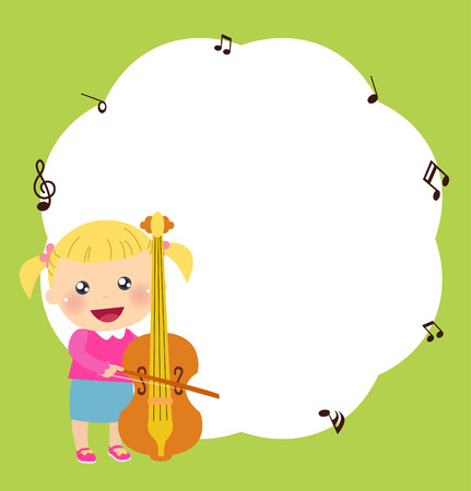 Little girl and violin Vector