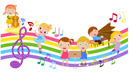 musical notes background: Cartoon children and music