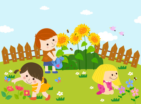 Cute kids playing in garden Vectores