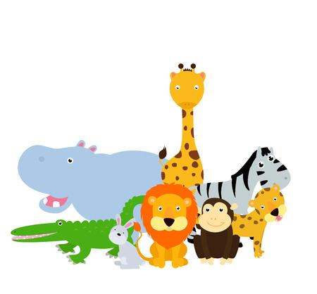 primate biology: different wild animals cartoons