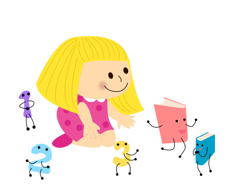Little girl and book Vector