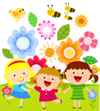 Kids and flowers Vector