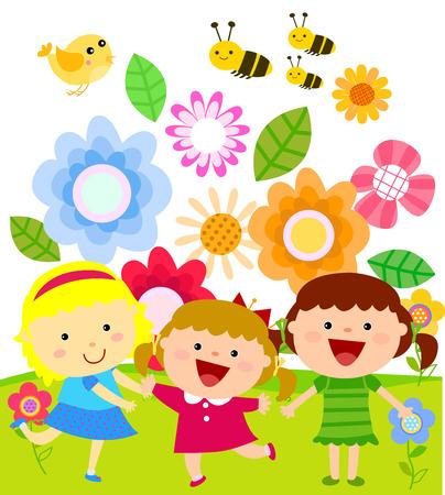 jardines flores: Ni�os y flores Vectores