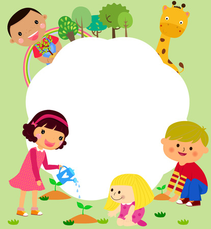 Happy kids and frame Vector