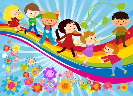 Glückliche Kinder und Regenbogen